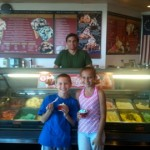 The kids and the owner of Cold Stone Creamery in Lahaina, Maui, Hawaii