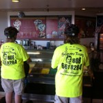 Ordering Cold Stone Ice Cream while riding Segways from Segway Maui