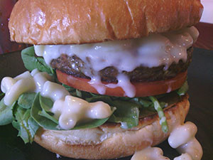 """Cool Cat Cafe Veggie Burger of the Month December 2014: """"White Christmas"""""""